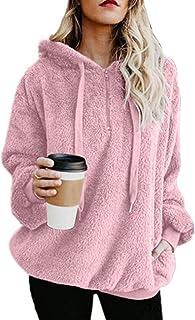 Ecupper Women's Fuzzy Sherpa Pullover Zip Fleece Hoodie Sweatshirt Outwear