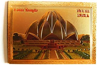 Aayam Design and Solutions India Souvenir Lotus Temple (Delhi) Golden foil Sticker Magnet for Fridge/Magnetic memo Boards ...