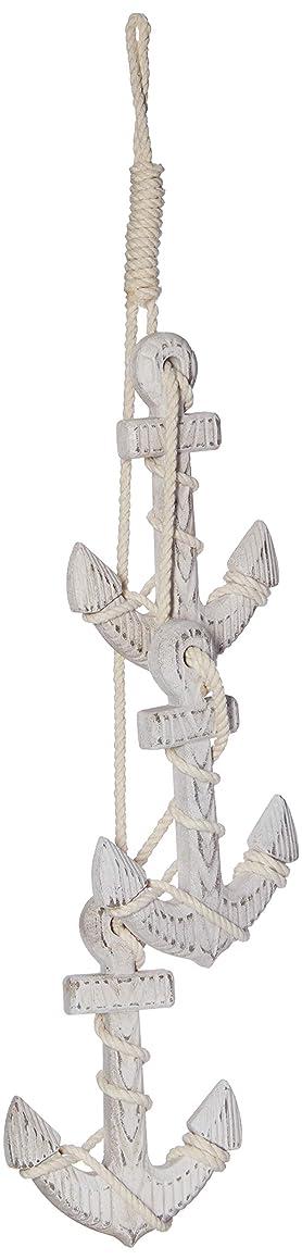 Hampton Nautical White-x Wooden Rustic Whitewashed Triple Anchor Ornament Set 7