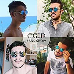 CGID E72 Retro Steampunk Style Unisex Inspired Round Metal Circle Polarized Sunglasses for Men and Women Black Frame Red Lens #1