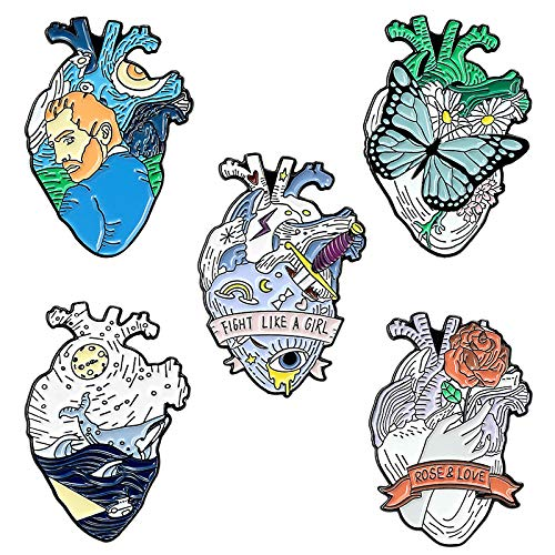 Juego de 5 alfileres de solapa esmaltados con forma de corazón y mariposa, para bolsas de ropa, mochilas, sombreros, manualidades