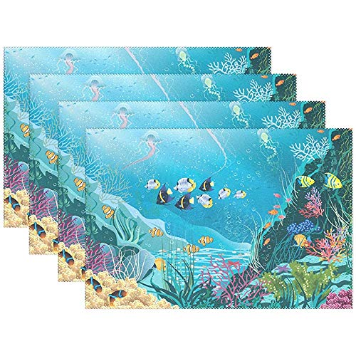 sunnee-shop koraalvissen oceaan zee waterwereld plaat placemats placemats mat 12 x 18 inch