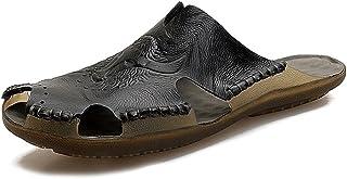 Z.L.FFLZ Men Sandals Men's Genuine Leather Beach Slippers Non-slip Soft Flat Closed Toe Sandals Sandals (Color : Black, Si...