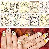 10 Feuilles Autocollants d'Automne pour les Ongles Faciles à DIY Décor d'ongles 3d pour filles femmes - Motifs: Animaux Fleurs Feuilles d'érable pour Thanksgiving, Noël