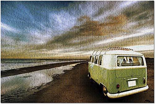 Olivgrüner VW Van am Strand 9006779 (Premium 500-teiliges Puzzle für Erwachsene, 13 x 19, 500 Stück 13 x 19