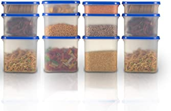 Cutting EDGE Kitchen Storage Container Set for Rice | Dal |Atta | Flour | Cereals | Pulses | Snacks, Stackable | BPA Free | Best Quality, Assorted Colors (Peppy Blue, 12)