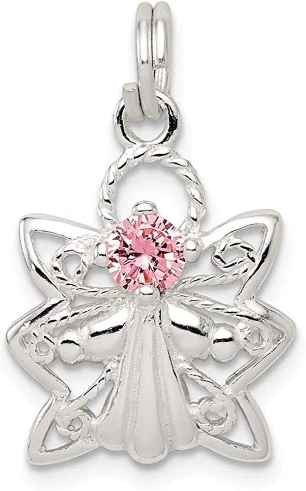 Solid 925 Sterling Silver Pink CZ Charm Zirconia Pen Las Vegas Mall Angel Cubic San Diego Mall