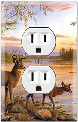 Graphics Wallplates Painting Deer River Trees Duplex Outlet Wall Plate Cover Amazon Com