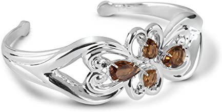 product image for Carolyn Pollack Sterling Silver Cognac Quartz Gemstone Cuff Bracelet Size Large