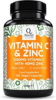 Nutravita Vitamin C 1200mg & Zinc 40mg per Daily Serving - Maintenance of Normal Immune System - 120 Vegetarian Capsules w...