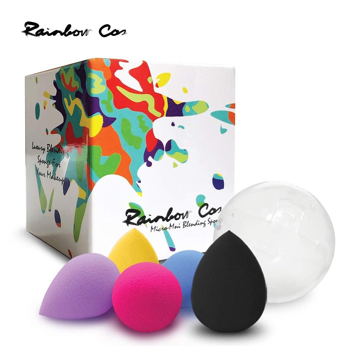 博覧会減衰村Rainbow Cos 5 PCS Micro Mini Makeup Blender Beauty Sponge set, Foundation Blending Sponge,Flawless for Liquid, Creams, and Powders,Multi Color Makeup Sponges Latex Free.ミニサイズ しずく型メイクスポンジ 5個入りセット ファンデーションスポンジ 非ラテックス 乾湿兼用メイクスポンジ