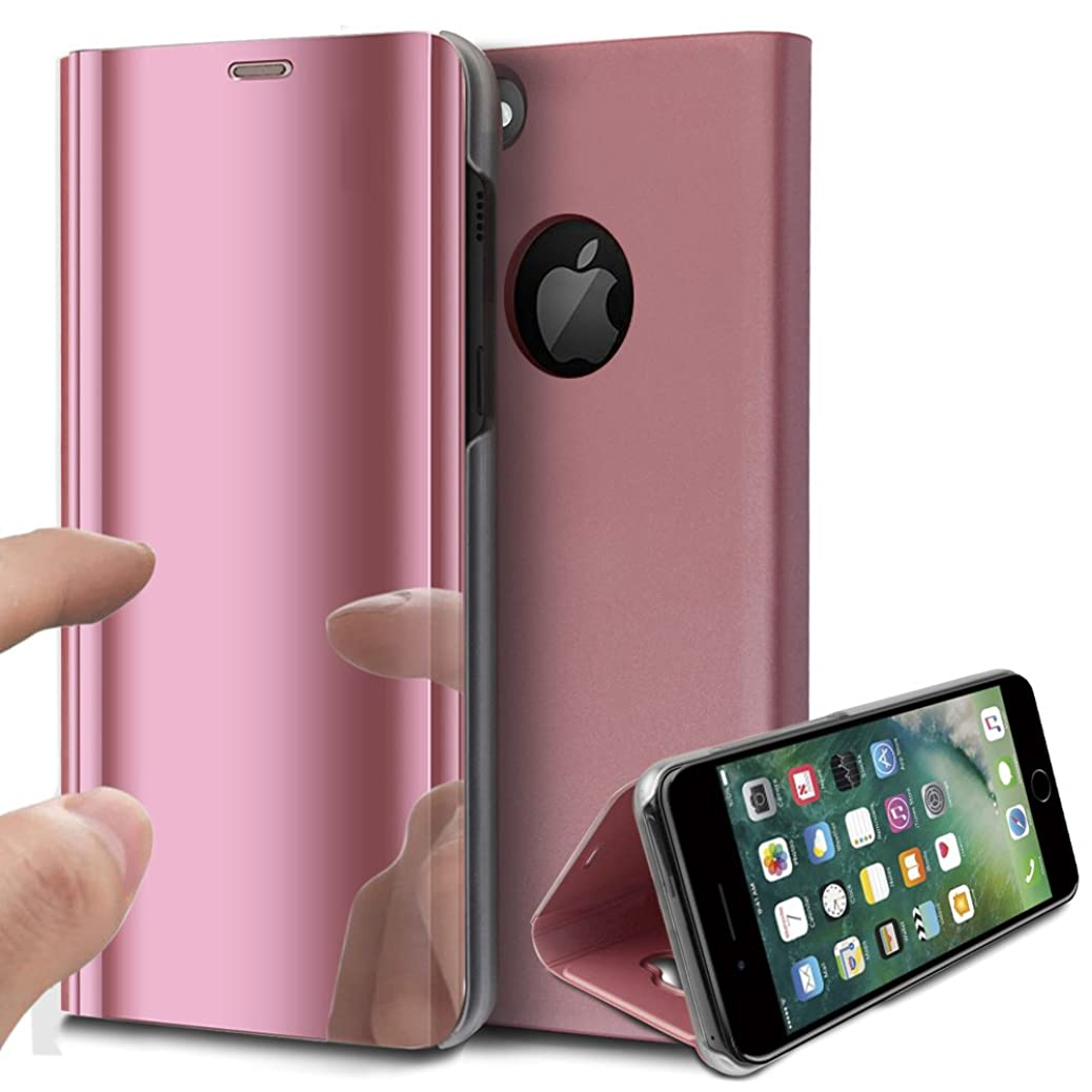 iPhone 6S Plus Case,iPhone 6 Plus Case,ikasus Ultra-Slim Luxury Plating Mirror Makeup Case Cover PU Leather Flip Stand Kickstand Protective Case Cover for Apple iPhone 6S Plus / 6 Plus 5.5