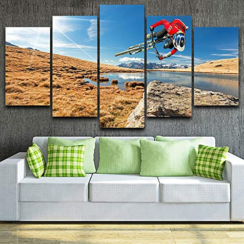 SLFWCLH 5 Canvas Paintings Modern Wall Art Pictures Living Room 5 Panel Mountain Bike Sunshine Landscape Home Decoration Poster Hd Printed Painting Fashion stretch background decorative mural No frame