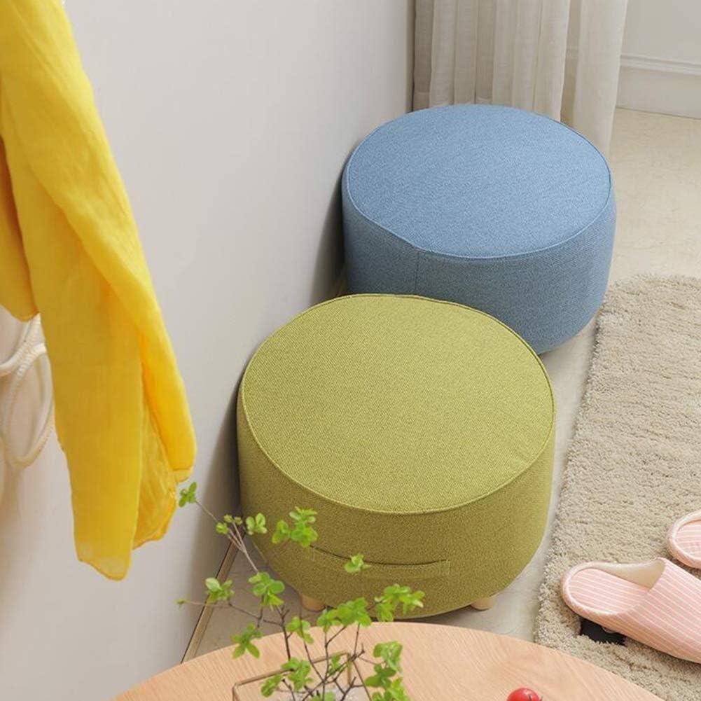 Tissu Pouf Ronde Tabouret Salon Table Basse Tabouret Changement De Chaussures Tabouret Amovible En Bois Massif (Color : A) A