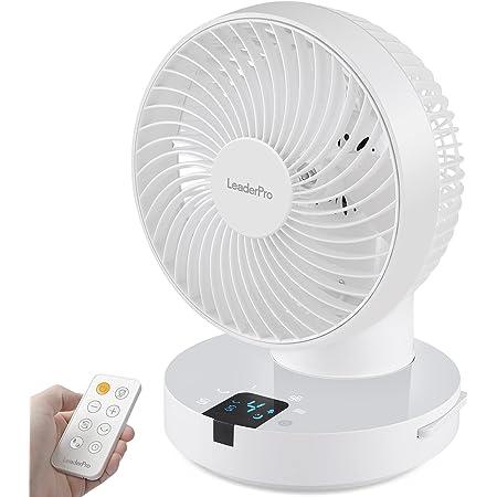 LeaderPro Ventilateur Silencieux avec Oscillation 360°Automatique et Manuelle 3D Ventilateur 25dB avec Télécommande Ventilateur de Table 4 Vitesses 8H minuterie 6,4m/s EU prise pour Chambre 30㎡, Blanc