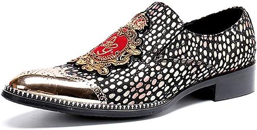 Chaussures de Sport pour Hommes en Cuir Toe Décontracté Rock Singer Chelsea Bar Barre de métal Cap Slip on pour discothèque, Affaires, Mariage, Décontracté, Bureau, Parti