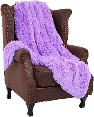 51x63inch Large Plush Wrinkle Resistant Blankets Purple Super Soft Shaggy Faux Fur Blanket Ultra Plush Decorative Throw Blanket Couch Bed Chair Photo Props Lightweight