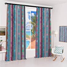 Pastel Pleated curtains with blackout and lining Different Colored Stripes in Vertical Direction with Big and Small Dots Circles Used for Living room bedroom with sliding door patio door W52 x L63 In