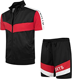 Men's 2 Piece Tracksuit Athletic Short Sleeve T Shirts and Shorts Casual Sport Jogging Sweatsuit Sets