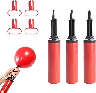 Lot de 4 Pompes à Ballon avec Outil de Fixation pour Ballons, Pompe Ballon Manuelle avec 4 Nœuds Rouges de Ballon pour Fêt...