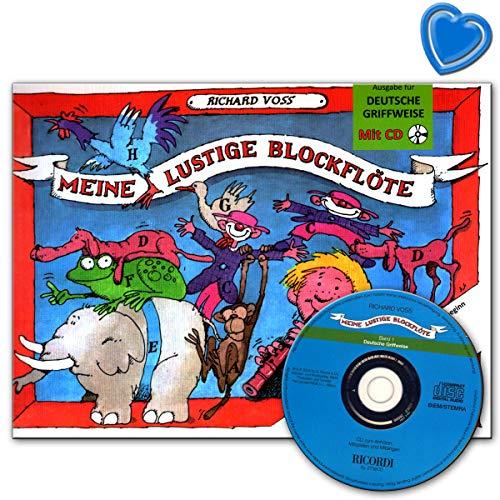 Meine lustige Blockflöte Band 1 - Sopranblockflötenschule (deutsche Griffweise) für Vorschulkinder und den Schulbeginn mit CD und herzförmiger Notenklammer - SY2738 9790204227389