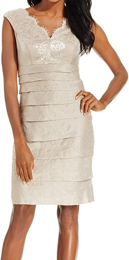 London Times Women's Cap Sleeve V Sheath Dress w. Scallop Neck