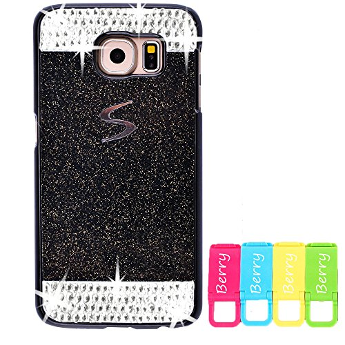 Berry Accessory(TM) Beauty Luxury Diamond Hybrid Glitter Bling Hard Shiny Sparkling with Crystal Rhinestone Cover Case for Samsung Galaxy Note 5 + Berry Logo Stand Holder (Black + Bling)