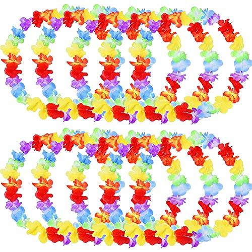 12 Piezas Hawaiian Leis Tropicales con Volantes de Flores Aloha Garland Floral Luau Despedida de Soltero Hula Party Hawaii Beach Collares Decoración Fiesta Cumpleaños Regalos de Disfraces Suministros