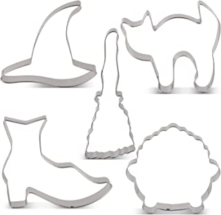 LILIAO Halloween Witch Cookie Cutter Set - 5 Piece - Witch's Hat, Witch's Shoes, Broom, Cauldron and Frightened Cat Biscuit Fondant Cutters - Stainless Steel