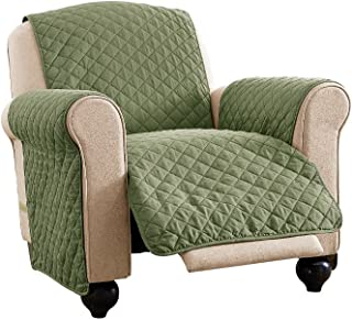 Reversible Spill Resistant Quilted Furniture Protector Cover with Ties - Covers Seat Bottom, Seat Back and 2 Seat Arms, Olive/Sage, Recliner