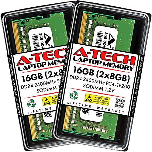 A-Tech 16GB (2x8GB) DDR4 2400MHz SODIMM PC4-19200 Non-ECC CL17 1.2V 260-Pin SO-DIMM Laptop Notebook Computer RAM Memory Upgrade Kit