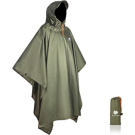 Anyoo Waterproof Rain Poncho Lightweight Reusable Hiking Rain Coat Jacket with Hood for Outdoor Activities