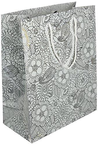 Les Couleurs de l'Emballage 20 geschenktragetassen met koord en glanzende laminering van metaalpapier, 23 x 18 x 10 cm, motief metalen punten op wit