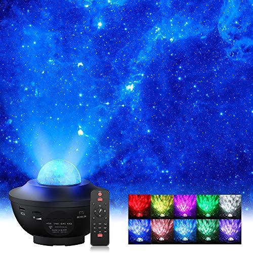 LED Sternenhimmel Projektor, Elekin LED Sternenprojektor Lampe mit Fernbedienung Starry Stern Mond, Wasserwellen-Welleneffekt, Bluetooth Lautsprecher Perfekt für Party Weihnachten Halloween Geschenke