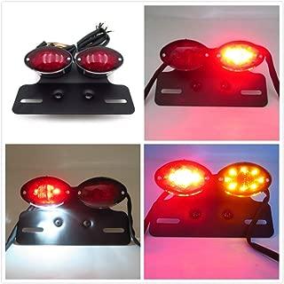 HTTMT MT374-BK+RED Universal Cat Eye Custom Tail Brake License Plate Light Black Red