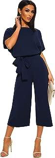 Women's Elegant High Waist Short Sleeve Jumpsuit Casual Wide Leg Pants Loose Rompers with Belt
