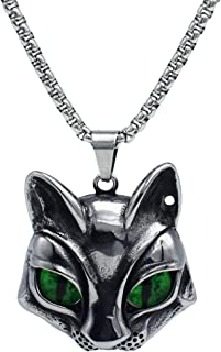 IFUAQZ Men's 316L Stainless Steel Vintage Gothic Cat Head Eye Pendant Necklace Evil Eye Green/Blue/Yellow