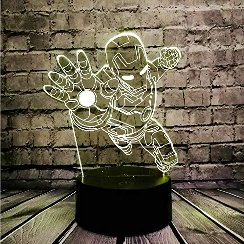 Nieuwigheid 3D-nachtverlichting Superheld Iron Man Action Figure Multicolor LED-lamp Kid Toy Tafel Slaapkamer Nachtkastje Lichtgeschenken