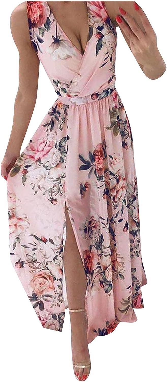 JPLZi Women's Sexy Deep V Neck Backless Boho Floral Print Split Maxi Party Dress Sleeveless Beach Casual Long Dresses