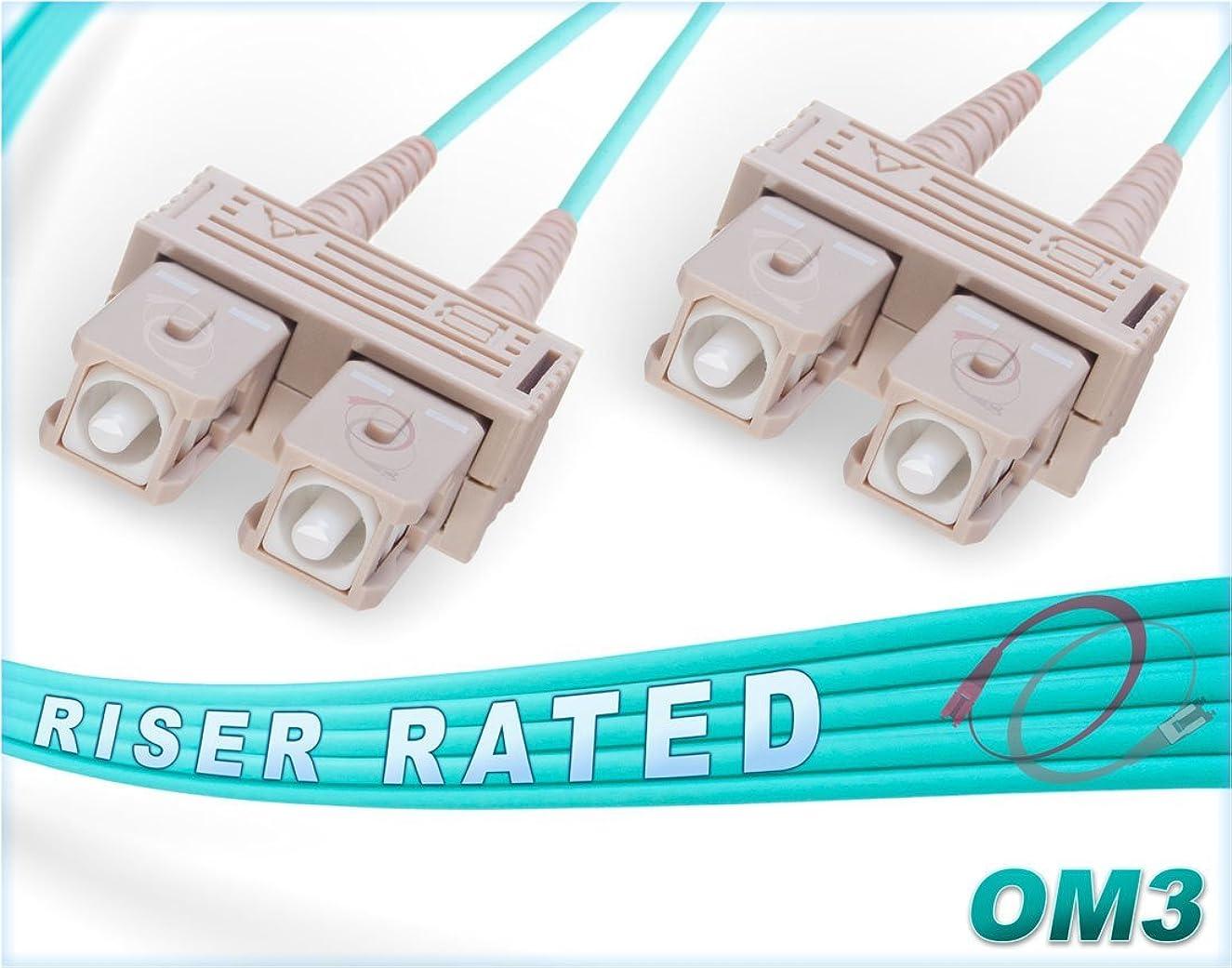 FiberCablesDirect - 10M OM3 SC SC Fiber Patch Cable   10Gb Duplex 50/125 SC to SC Multimode Jumper 10 Meter (32.8ft)   Length Options: 0.5M-300M   ofnr sc-sc dplx mmf 10gbase sfp+ sr Aqua Zip-Cord