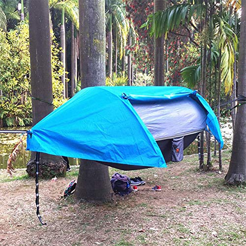 ZYQDRZ Outdoor Camping Hammock Tent With Rain Cover, Travel Hammock Tent Can Bear 200kg, Accommodate 2 People (290 * 145cm),Blue,290 * 145cm