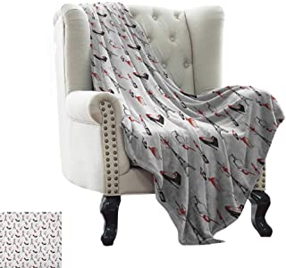 BelleAckerman Throw Blanket Eiffel,Hand Drawn Style Pattern Women Fashion Elements Shoes Lipstick Perfume Lady, Ruby Black White Microfiber All Season Blanket for Bed or Couch 60