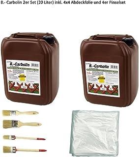 Wilckens Holzanstrich B.-Carbolin 2 Kanister Carbolin 20 Liter inkl. 4x5m Abdeckfolie und 4er Pinselset von E-Com24 Carbolin Holzanstrich 20 liter