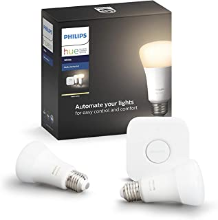 Philips Hue(ヒュー) | ホワイト スターターセット |電球色(2,700K)E26スマートLEDライト2個+ブリッジ1個 |【Amazon Echo、Google Home、Apple HomeKit、LINEで音声コントロール】