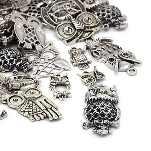 Pack 30 Grams Antique Silver Tibetan Random Shapes & Sizes Charms (OWL) - (HA06695) - Charming Beads