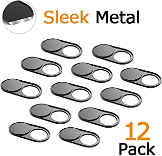 Webcam Cover Slide 0.027In Ultra Thin Metal Magnet Web Camera Cover MacBook Pro Laptops Smartphone Mac PC Tablets Protecting Your Privacy Security Black(12 Packs)