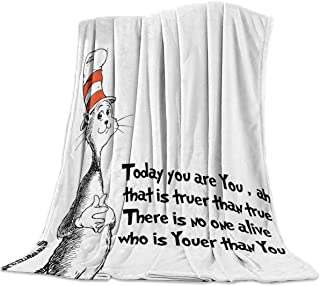 Sponsored Ad - T&H Home Artistic Blanket, Freehand Cute Cat in The Stripe Hat Print Soft Flannel Fleece Bedding Blanket fo...