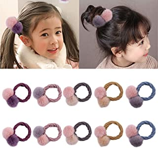 10 stuks schattige haarbal elastische haarbanden pompon haarband voor baby meisjes paardenstaart houders haaraccessoires (...