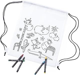 Lote DE 20, Mochila Cuerdas pequeñas Infantiles WIZZY, para Colorear, CRAYONES INCLUIDOS, Mochilas Cuerdas pequeña Mochilas Escolares Material Escolar