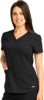 Grey's Anatomy Women's Two Pocket V-Neck Scrub Top with Shirring Back, Black, Medium